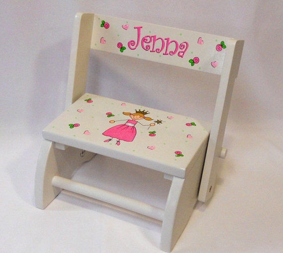 Personalized Child s Flip Stool Princess with Flowers and
