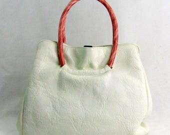 Vintage 1960s Margolin White Leather Handbag