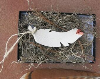 Woodland Ceramic Bird Feather Christmas Ornament Charm Porcelain White Home Decor Gift Idea, Handmade Artisan Pottery by Licia Lucas Pfadt