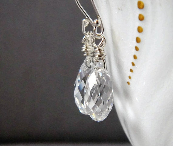Swarovski Clear Crystal Teardrop Earrings Clear Earrings Crystal Earrings Sterling Silver Wire Wrap Bridal Drops Wedding Faux Diamonds Gift