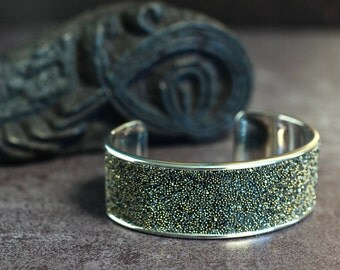 Swarovski Crystal Cuff Crystal Bracelet Diamond Sparkly Jewelry Arm Candy Statement Piece Gray Bracelet Black Bangle Gift For Her Unusual