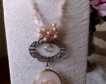on sale Victorian age style necklace reclaimed with big floral pendant, pink quartz, vintage pearls, rhinestones, OOAK