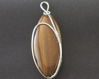 Longboard - Tiger's Eye Stone Pendant, Wire Wrapped Stone Pendant, Flawless Tiger's Eye Wrapped in Argentium Silver Wire
