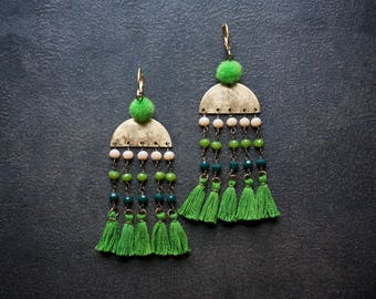 Festival Fringe Earrings Tassel Kelly Green Tiny Pom Pom Rosary Chain Crystal Boho Gypset Edgy  Camel Swag Brass Semi Circle Ombre Bohemian