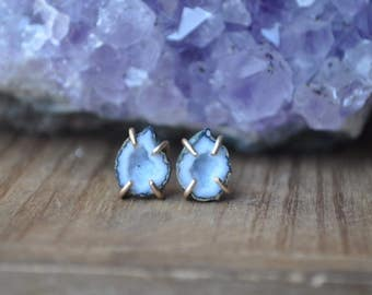 One of a kind Geode Gold Fill Claw Stud Earrings - Pale Blue Druzy Geode Studs