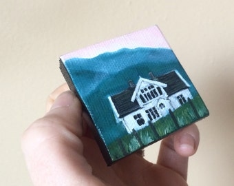Little House Painting, Tiny Art, Wall Art, small painting, gift for her, nursery decor, Norway, Norwegian, landscape, mountains, house, art