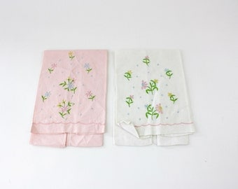 Vinage 60s Floral Tea Towels Pair Pink & White Cotton Linen Hand Towels Embroidered Flowers Never Used