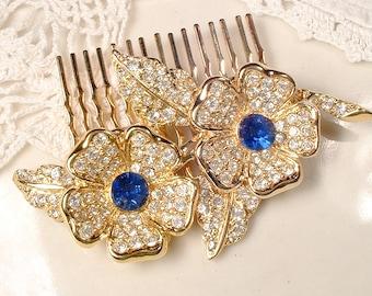 OOAK Gold Sapphire Rhinestone Bridal Hair Accessory, Vintage Wedding Headpiece, Navy Blue Hair Comb Leaf Flower, Something Blue Hairpiece