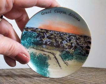 Small Porcelain Souvenir Plate Grand Canyon Arizona Handpainted Vista