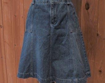 Vintage A Line Denim Jean Skirt