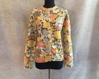 Vintage 60s Cardigan Sweater, Wool Cardigan Sweater, Yellow and Cream Floral Knit, Medium to Large, Bust 40, SALE