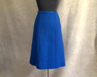 Blue Wool Skirt, Vintage Skirt 60 Skirt, A-line Skirt, Bright Cobalt Blue, Size Medium, Waist 28, SALE
