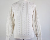 Cable Knit Sweater / Pullover Sweater / White Sweater / Winter Spring / Cotton Sweater / Vintage / Mens / Size Medium / GOGOVINTAGE