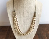 Multi-Strand Beaded Necklace: Pearl, Gold, and White Beads