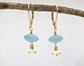 Gold stone earrings, blue earrings, Aquamarine and Pearl cluster earrings, hand made dangle earrings, stone earrings,happy earrings
