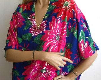 Vintage 80s Oscar de la Renta Floral Tropical Designer Caftan MuuMuu Dress