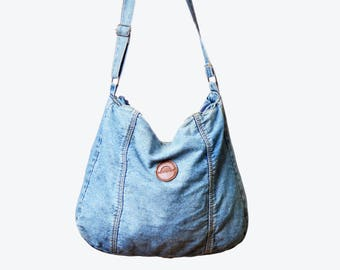 Vintage 80s Denim PURSE / 1980s Light Blue Denim Crossbody Shoulder Bag