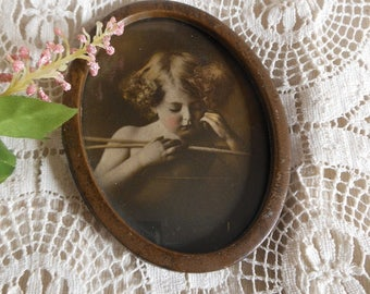 Oval Tin Framed Cupid Print Miniature Vintage at Quilted Nest