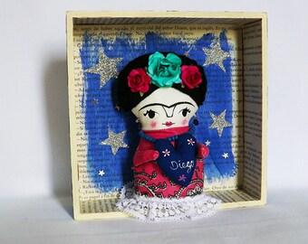 Diorama of Frida Kahlo, ooak doll, box wood.
