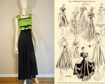 Deco Day Dreams Come to Life - Vintage 1930s Apple Green Pleated Chiffon & Black Crepe Rayon Evening Gown Dress - 2/4