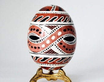 Trypillian Pysanka Ukrainian Easter egg hand painted chicken egg shell ancient mythology Cucuteni culture drawings tribal designs Neolithic