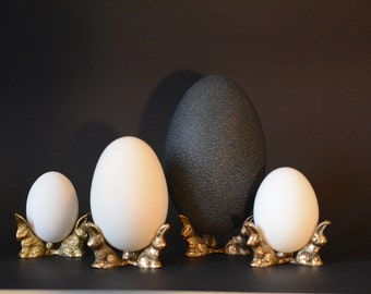 brass Rabbit display for Chrystal sphere Emu egg stand Ostrich egg display Rhea egg holder Pysanky stands