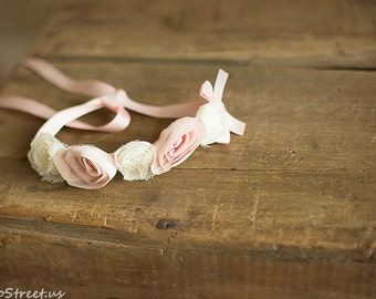 Baby Flower Headband, Baby Pink and Ivory Headband, Newborn Headband, Silk Tieback, Pink Headband, Baby Halo, Natural, Newborn Props