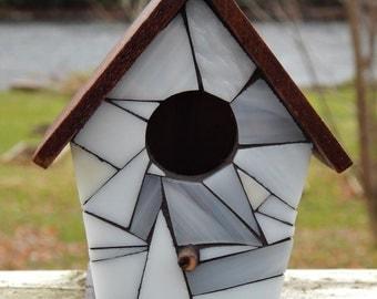 Mini Stained Glass Mosaic Decorative Birdhouse White