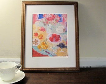 """Matted Print Of Silk Painting """"Tea For One """" , 11 x 14 in Mat With Mat Board, Ready to Be Framed"""