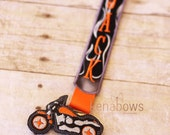 Motorcycle Pacifier Clip, Harley, Orange, Black, Flames, Baby Boy, Baby Girl, Personalized Binky Holder, Universal Paci, Pacifier Keeper