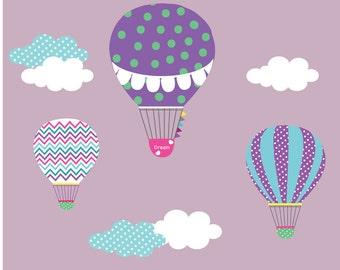 Nursery Wall Decal,Hot Air Balloon,Balloon Wall Decal,Chevron Pattern,Boy Girl Nursery