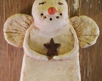 Primitive Snowman Angel Ornament, OOAK, hand-sculpted from papier mache, SNOWMAN ANGEL