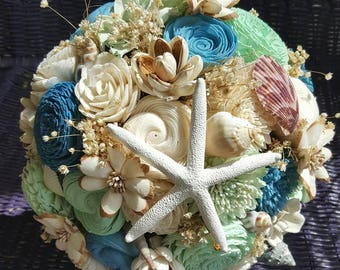 Sola Beach Bouquet, Sola Flower, Wooden Flower Bouquet, Beach Wedding, Sea Bouquet, Seashell Bouquet, Starfish Bouquet, Dried Flowers