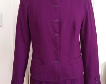 1970s Jaeger London Wool Suit Skirt & Jacket, Violet Purple, Nehru Collar, Vintage Size 12, Made in Great Britain, Very Soft, Lined B38 W28
