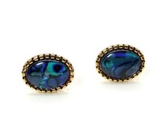 A Sea of Blue Cufflinks – Deep Blue Paua Shell Cufflinks – Blue Pearl Cufflinks – Blue Oval Cufflinks