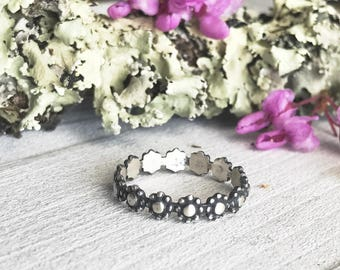 Floral Ring - Stacker Ring - Handmade - Sterling Silver - Stacking Ring - Daisy Crown Ring - Goingsnake Silver - By Ashley Goings