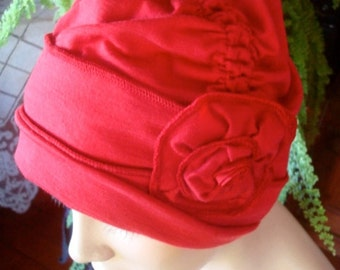 Red chemo hat womens hat ooh lala hat cloche fine merino headcover chemo gift winter lipstick red