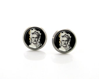 Frida Kahlo Unique Painting Titanium Post Earrings | Hypoallergenic Earring Stud | Sensitive jewelry post Mexican Artist Unique Gift For Her