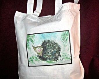 Tote Bag,  Dance Bag, Ballerina Bag, Hedgehog, Porcupine,  Woodland Nursery Bag, Animal Art, Shopping Bags, Tote Bags, Bag