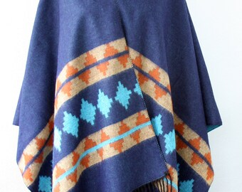Navy blue poncho turquoise tribal wrap aztec poncho native american clothing bohemian poncho winter blanket scarf womens gift for her