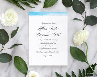 Watercolor Wedding Invitations, Romantic Wedding Invitations, Calligraphy Wedding Invitations, Blue Wedding Invitations