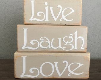 Custom Wooden Personalized Stack able Blocks-Live Laugh Love Home decor Blocks