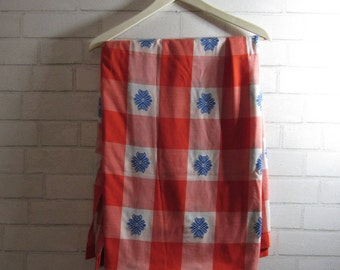 Vintage True Picnic Table, Red and White Checkered Squares with Blue Embroidered