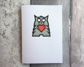 Cat Valentine's Card - Handprinted Cat Card featuring Bob - Cat Heart Greetings Card - Gocco Printed Card