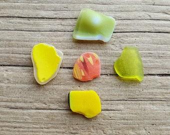 RARE BRIGHTS - Yellow Orange Green Sea Glass Shard - Rare Multi Coloured Beach Glass - Scottish Jewelry Supplies (6502)