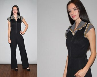 Vintage 1970s Striped Black Disco Boho Bell Bottom Jumpsuit - Vintage 70s Graphic Jumpsuits - W00534