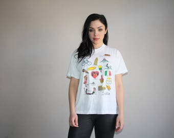 80s Vintage Italy France Europe Graphic Paper Thin 50 50 Cotton Poly Screen Stars T Shirt - 80s Clothing - WV0218