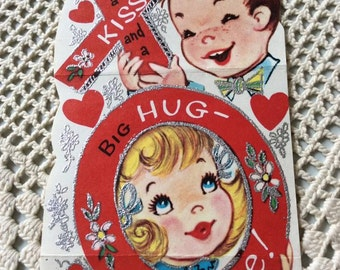 Vintage 1940s 1950s Valentine Little Boy & Girl Hugs Kisses XOXO Collectible Paper Ephemera Art Craft Scrapbooking