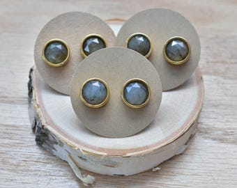 Gold Round Labradorite Stud Earrings/ Gold Stud Post Earrings Natural Labradorite Mineral Gem Faceted Stone (GTL12-LB)