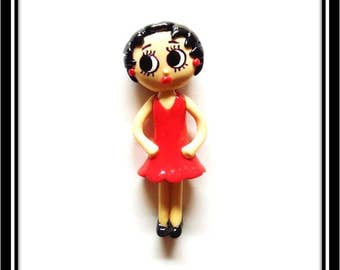 Cold Porcelain Betty Boop Figurine, Pendant, Clay Charm, Betty Ornament, Brooch, Purse Charm, Magnet, Bow Center, Fan Gift /DIY Necklace